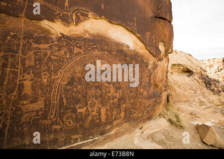 Rochester Petroglyph Panel, contains both Barrier Canyon style and Fremont style elements, near Emery, Utah, USA - Stock Photo