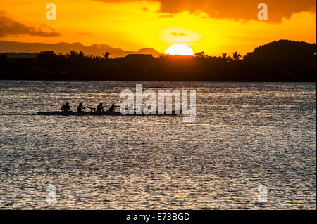 Evening rowing in the bay of Apia, Upolu, Samoa, South Pacific, Pacific - Stock Photo