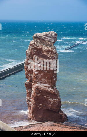 Lange Anna (Long Anna) free standing rock column in Heligoland, small German archipelago in the North Sea, Germany, - Stock Photo
