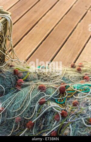 Fishing nets, Old Town Harbour, Piran, Primorska, Slovenia, Europe - Stock Photo