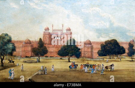 Painting of Red Fort, 19th century, Archaeological Museum, Red Fort, Delhi, India, Asia - Stock Photo