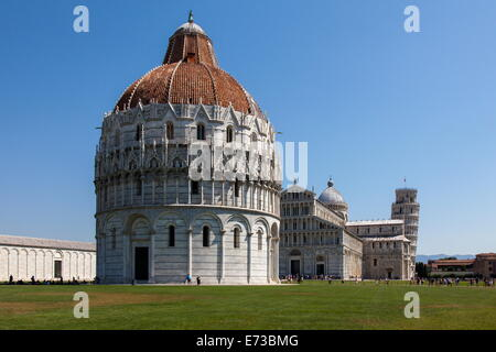 The Baptistery, Duomo and Leaning Tower, Piazza dei Miracoli, UNESCO World Heritage Site, Pisa, Tuscany, Italy, - Stock Photo