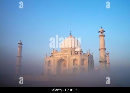 Taj Mahal at sunrise, UNESCO World Heritage Site, Agra, Uttar Pradesh, India, Asia - Stock Photo
