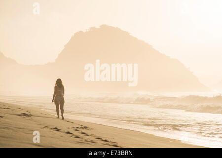 Copacabana Beach at dawn, Rio de Janeiro, Brazil, South America - Stock Photo
