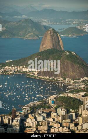 View from Cristo Redentor over Rio de Janeiro, Corcovado, Rio de Janeiro, Brazil, South America - Stock Photo