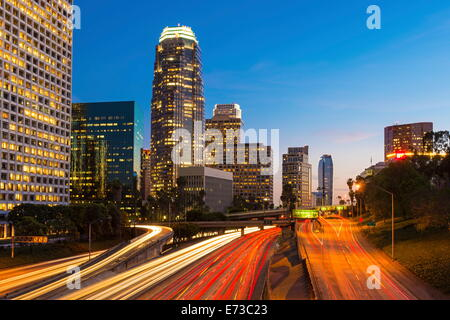 Downtown financial district of Los Angeles city, California, United States of America, North America - Stock Photo