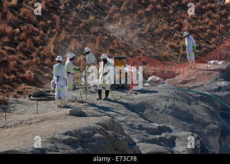 Building safe area around shaft entrance portal at new platinum mine in South Africa - Stock Photo