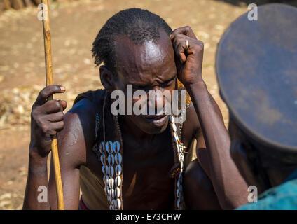 Mourning Ceremony In Hamer Tribe, Turmi, Omo Valley, Ethiopia - Stock Photo