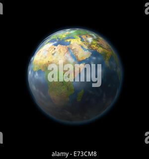 Earth globe with embossed continents isolated on black background. Elements of this image furnished by NASA - Stock Photo