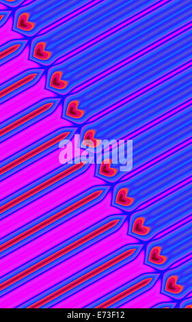 Diagonal line of hearts in blue and purple pattern - Stock Photo