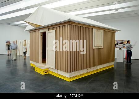 Humanitarian architecture exhibit (designed by Shigeru Ban), Aspen Art Museum (by architect Shigeru Ban), Aspen, - Stock Photo