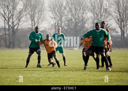 Hackney Marshes Sunday league, player wait for corner - Stock Photo
