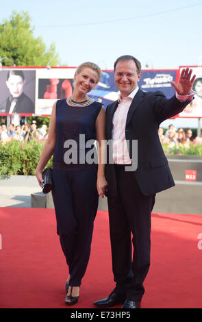 Venice, Italy. 5th Sep, 2014. Russian Culture Minister Vladimir Medinsky (R) poses on the red carpet for 'The postman's - Stock Photo