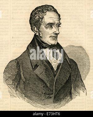 Antique 1854 engraving, portrait of Thomas Moore. Thomas Moore (1779-1852) was an Irish poet, singer, songwriter, - Stock Photo