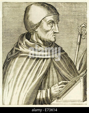 """Albertus Magnus (the Great) (before 1200-1280) from """"True Portraits…"""" by André Thévet published in 1594. See description - Stock Photo"""