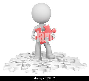 The dude finding red puzzle piece. Random white. - Stock Photo