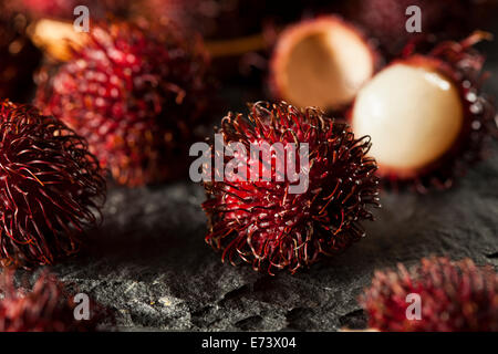 Fresh Organic Tropical Rambutan on a Background - Stock Photo