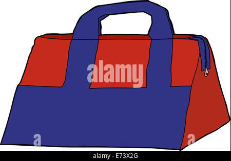 Single blue and red storage bag over white - Stock Photo