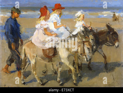 Donkey Rides on the Beach - by Isaac Israels, 1890 - 1901 - Stock Photo