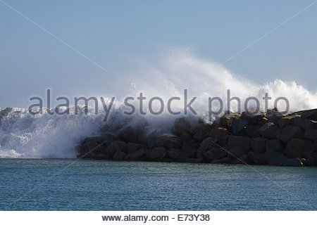 Dana Point, California, USA. 5th September, 2014. .Waves crash over the breakwater - Stock Photo