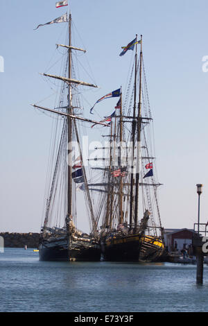 Dana Point, California, USA. 5th September, 2014. The Tall Ships Festival sunset parade sail in Dana Point was canceled - Stock Photo
