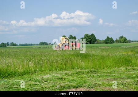 tractor travels through the meadow leaving cut grass of fine lines summer day - Stock Photo