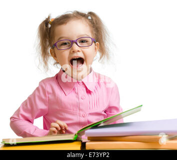 Funny kid girl in glasses with books speaking something isolated on white - Stock Photo