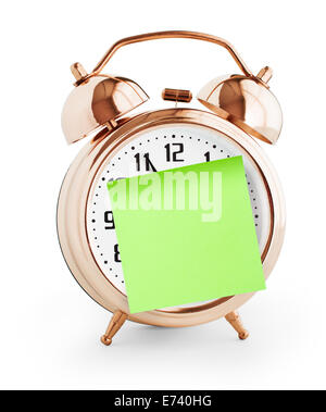 Alarm clock with green note for message isolated on  white - Stock Photo