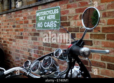 Motorcycles only parking sign, Stratford-upon-Avon, UK - Stock Photo