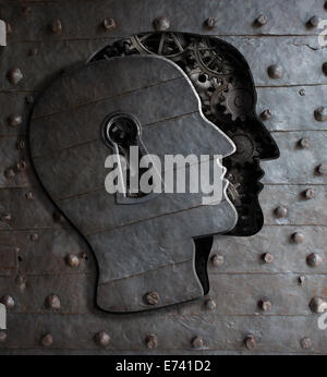 Human brain door with keyhole concept made from metal gears and cogs - Stock Photo