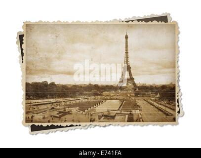 Eiffel tower in Paris vintage sepia toned postcard isolated on white - Stock Photo