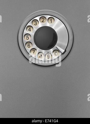 Retro public phone rotary dial - Stock Photo