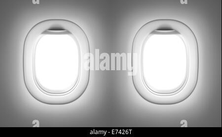 Airplane or jet interior with windows - Stock Photo
