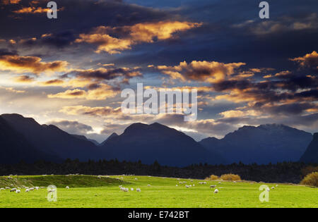 Mountain landscape at sunset, Southland, New Zealand - Stock Photo