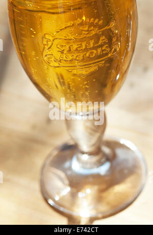 Still life food image of a glass of Stella Artois Lager - Stock Photo