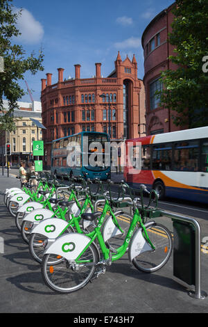 Liverpool City Council bike hire scheme in operation at Liverpool One, Merseyside, UK - Stock Photo