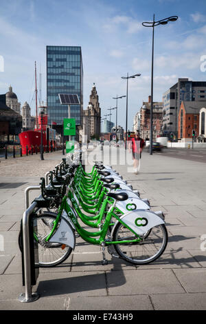 Liverpool City Council bike hire scheme in operation at Pier Head, Merseyside, UK - Stock Photo