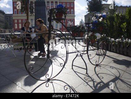 ITAR-TASS: MOSCOW, RUSSIA. SEPTEMBER 4, 2014. Tverskaya Street is decorated ahead of Moscow city day celebration. - Stock Photo
