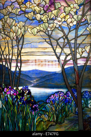Stained glass: Magnolias and Irises - by Louis Comfort Tiffany, 1908 - Stock Photo