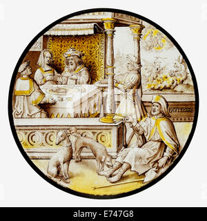 Stained Glass Roundel with Lazarus at the House of Dives, 1520 - Stock Photo