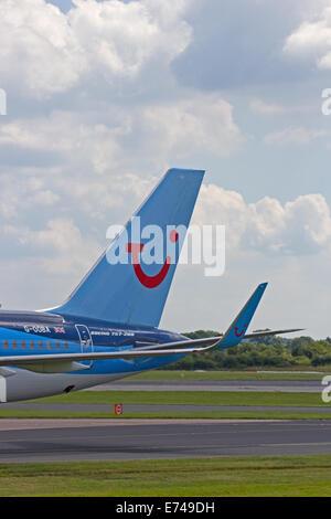 Tailplane of Thomson Airways Boeing 757-200 - Stock Photo
