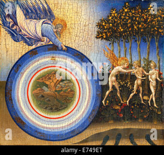 The Creation of the World and the Expulsion from Paradise - by Giovanni di Paolo, 1445 - Stock Photo