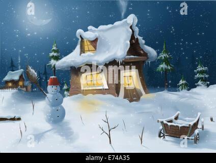 Digital illustration of wintertime - Stock Photo