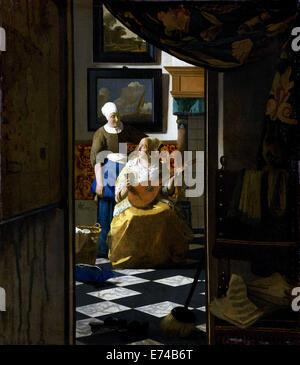 The Love Letter - by Johannes Vermeer, 1669 - 1670 - Stock Photo