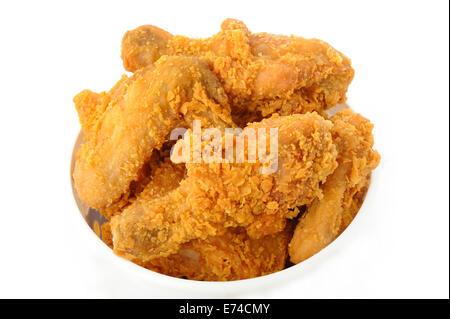 fried chicken in white bucket box - Stock Photo