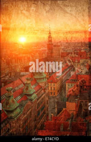 View of the old town in a retro style Wroclaw, Poland - Stock Photo