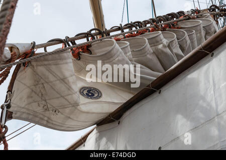 Sail on the Polish Tall Ship Dar Mlodziezy at the Falmouth Tall Ships Regatta 2014 - EDITORIAL USE ONLY - Stock Photo
