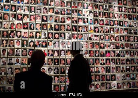 President Barack Obama tours the National September 11 Memorial & Museum with former New York City Mayor Michael - Stock Photo