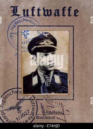 Germany. 6th Sep, 2014. CIRCA 1942: First page Luftwaffe pilot certificate. Reproduction of antique photo. © Igor - Stock Photo