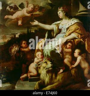 Allegory of Magnanimity; Luca Giordano, Italian (Neapolitan), 1634 - 1705; about 1670; Oil on canvas - Stock Photo